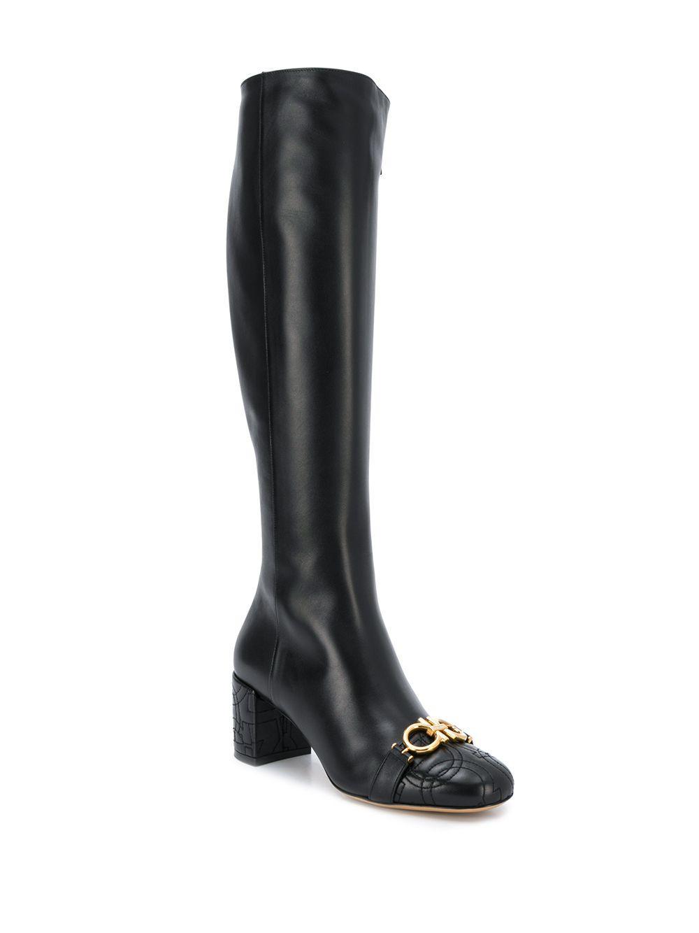 Botas Gancini acolchadas Ferragamo de Cuero de color Negro