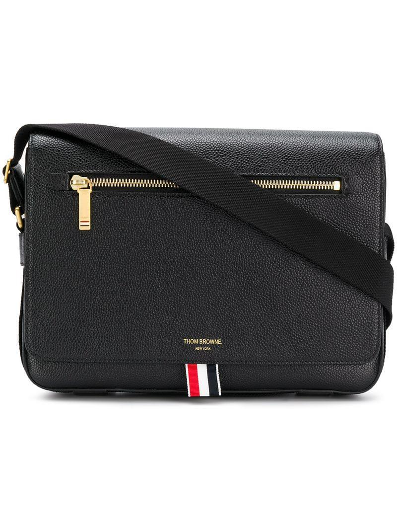 949aca0316c Lyst - Thom Browne Tonal Strap Leather Reporter Bag in Black for Men