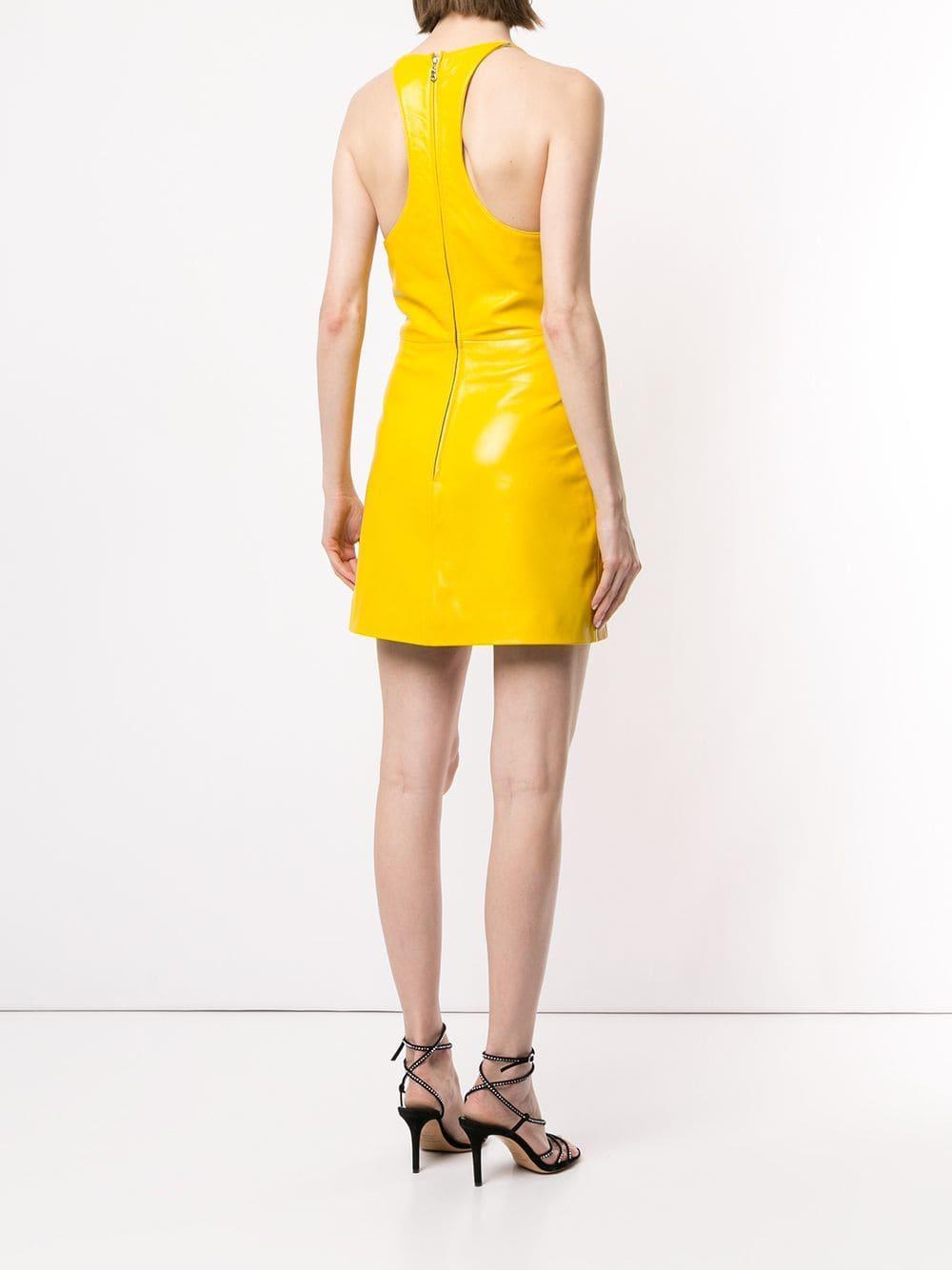Vestido corto con cuello en V Manokhi de Cuero de color Amarillo