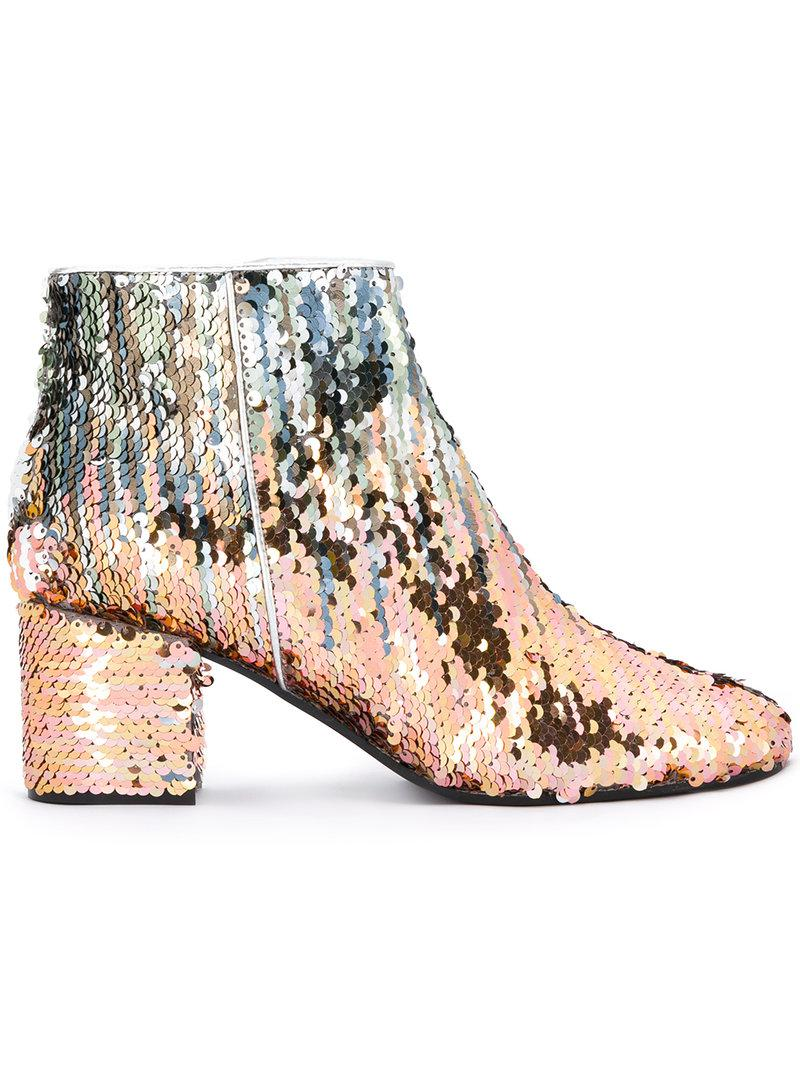 Lyst Pollini Sequin Ankle Boots In Metallic