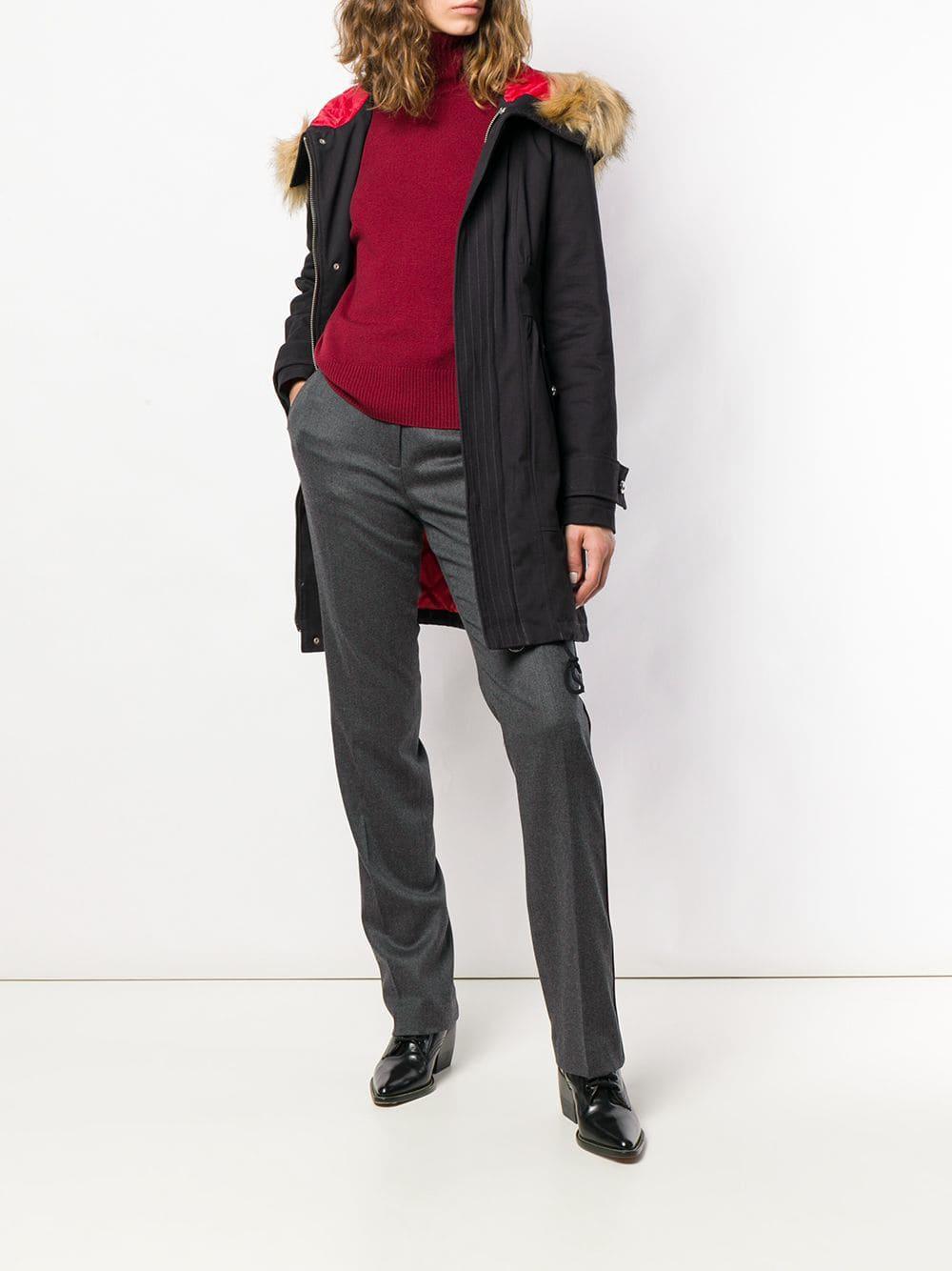 1a11d9eeb7 Pinko Hooded Parka Coat in Black - Lyst
