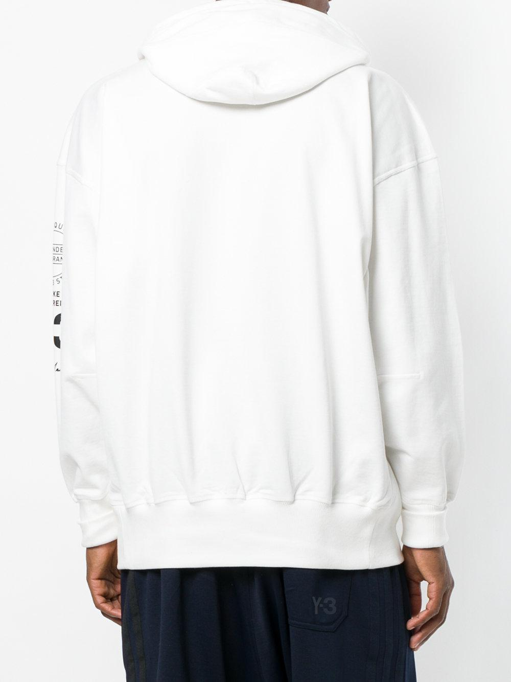 Y-3 Cotton Branded Drawstring Hoodie in White for Men