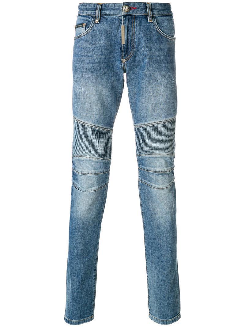 lyst philipp plein ribbed skinny jeans in blue for men. Black Bedroom Furniture Sets. Home Design Ideas