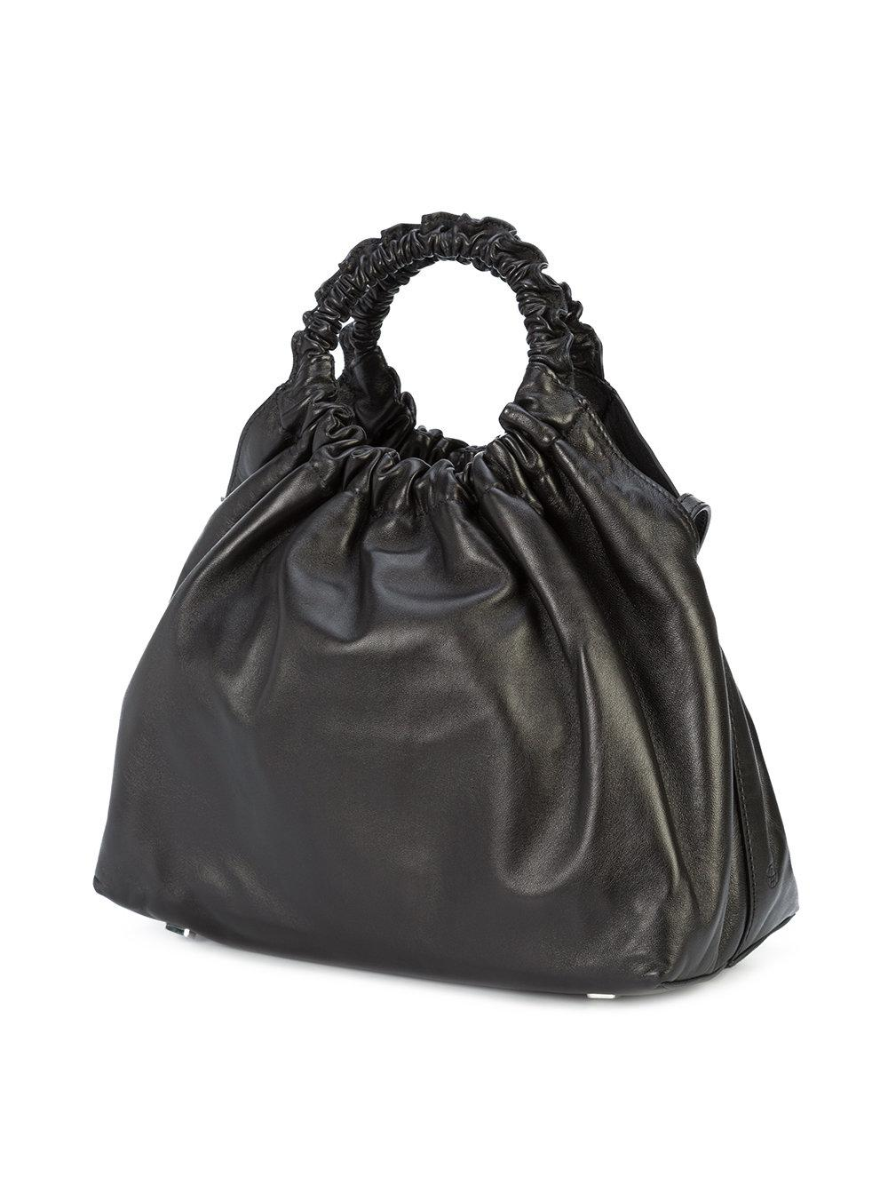 The Row Leather Double Circle Tote Bag in Black