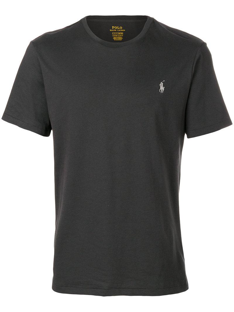 Lyst polo ralph lauren logo t shirt in gray for men for Polo shirts with logos