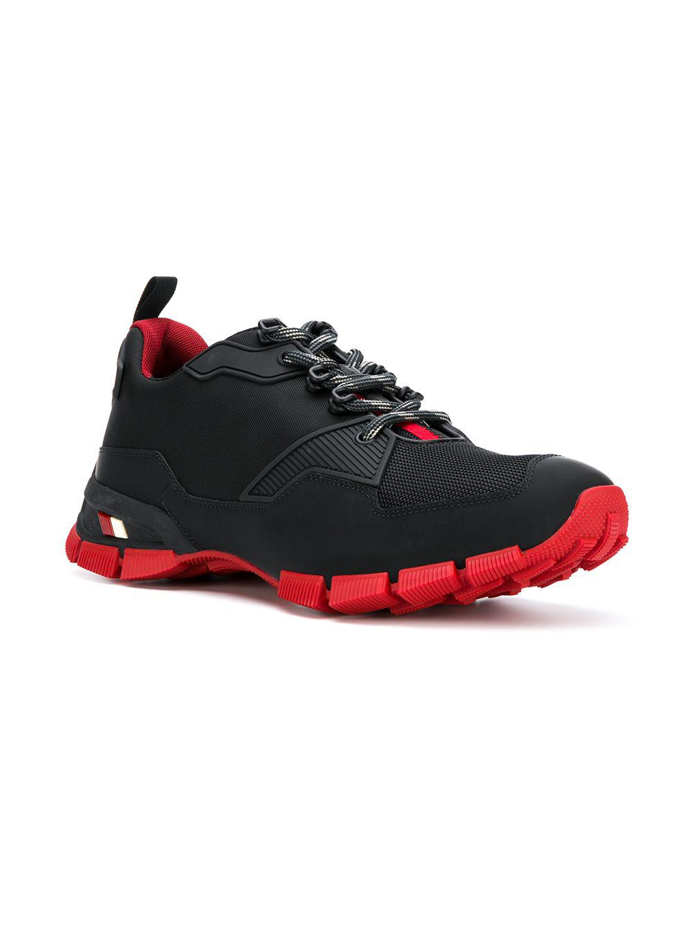 Prada Leather Cross-section Sneakers in