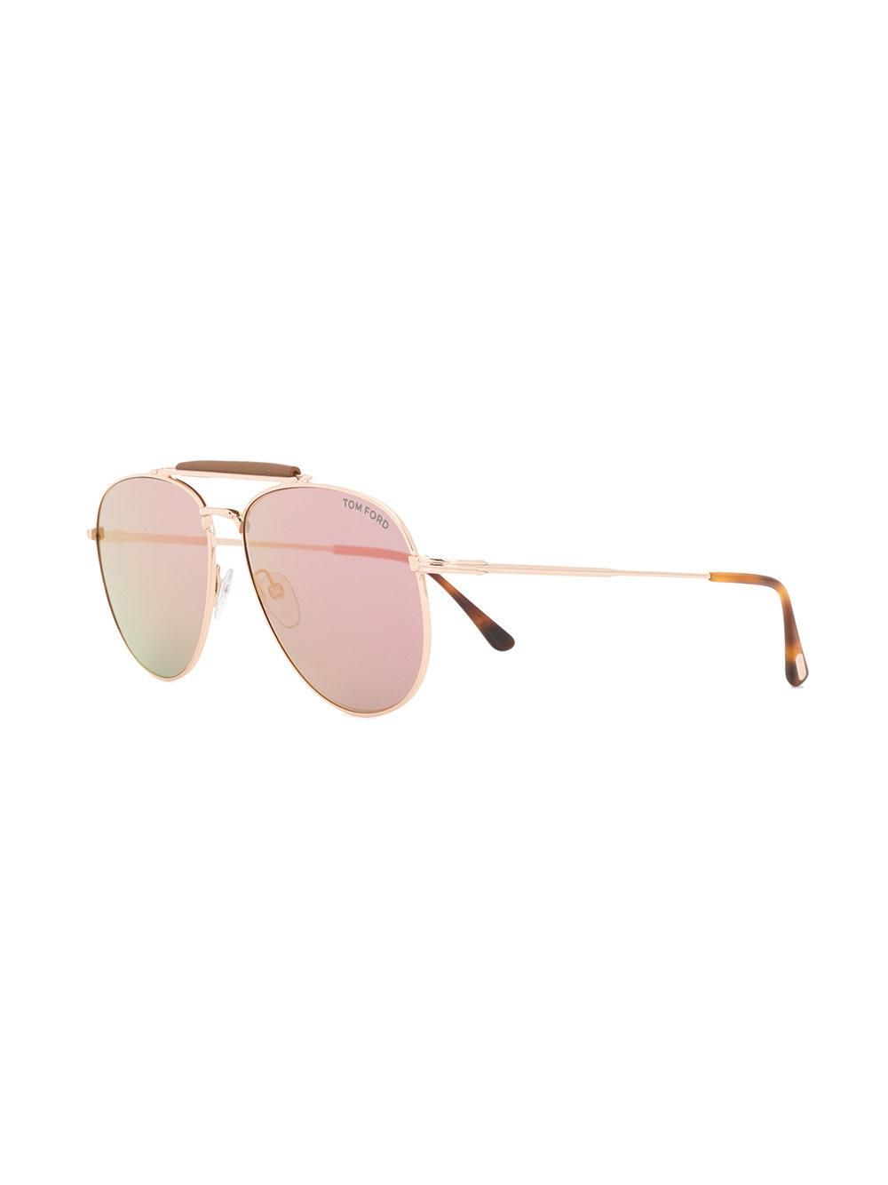 Tom Ford Gradient Aviator Sunglasses in Metallic