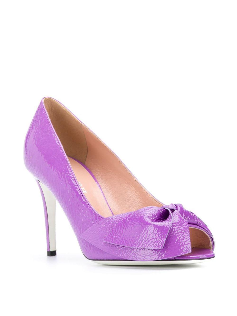 Zapatos de tacón con puntera abierta Pollini de Cuero de color Morado