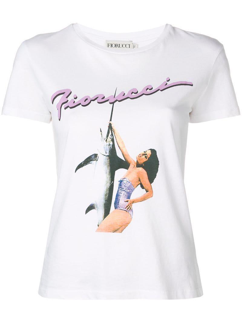 3b634d76af3 Fiorucci - White Printed Logo T-shirt - Lyst. View fullscreen