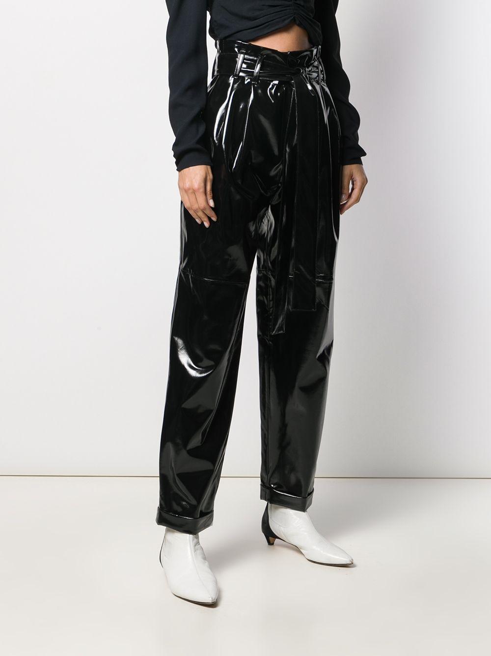 Pantalones de talle alto con cinturón Amen de Algodón de color Negro