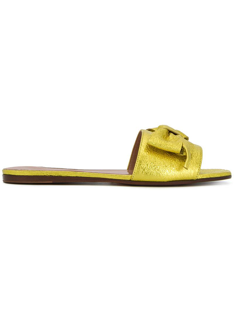 crackle effect slide sandals - Metallic L'autre Chose 3RsGA0icEn
