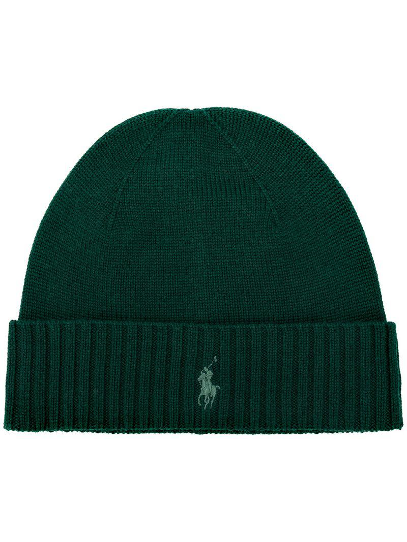 4606860c1d4 Polo Ralph Lauren Embroidered Logo Beanie in Green for Men - Lyst