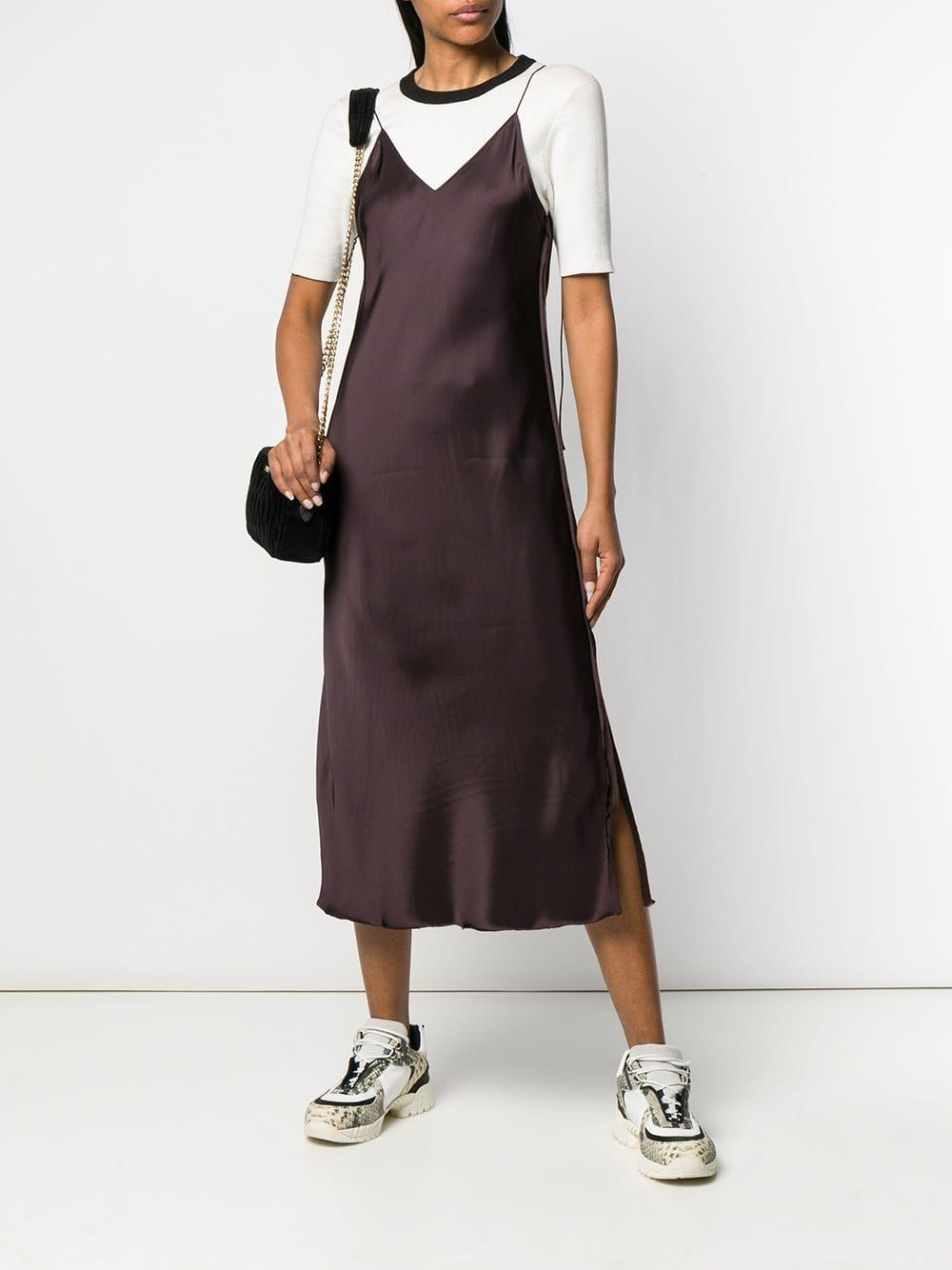 5a15c2ffa131 Lyst - Helmut Lang Raw Detail Slip Dress in Brown