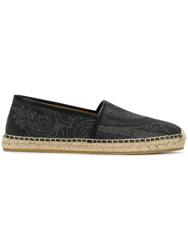 Sale 2018 embroidered pattern espadrilles - Grey Etro Cheap For Sale Sale Factory Outlet Discount Pre Order gz9WhaAn4C