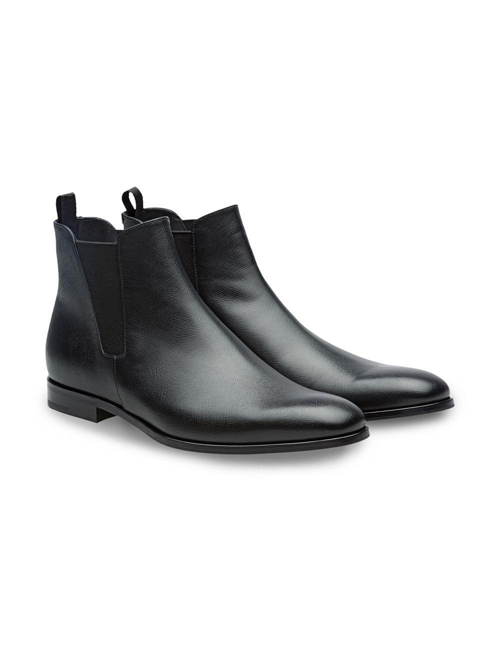 a46f15fc8661 Lyst - Prada Saffiano Leather Chelsea Boots in Black for Men