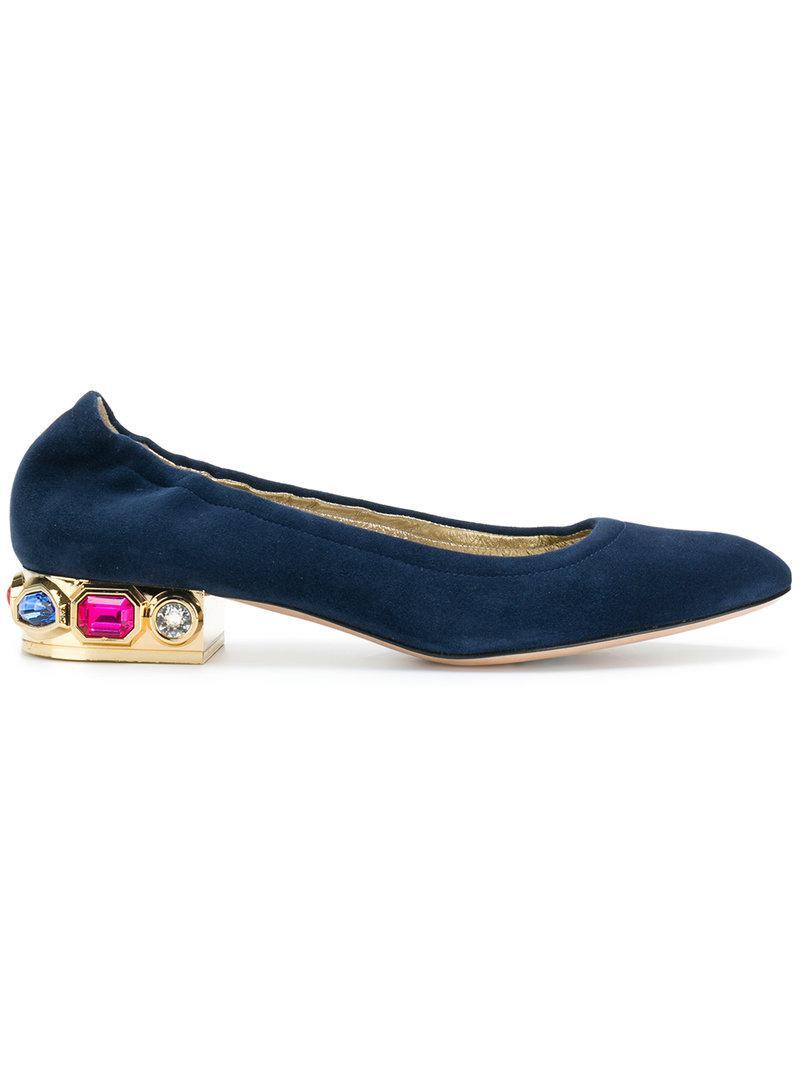 crystal-embellished ballerina flats - Blue Casadei iB28e8Hd