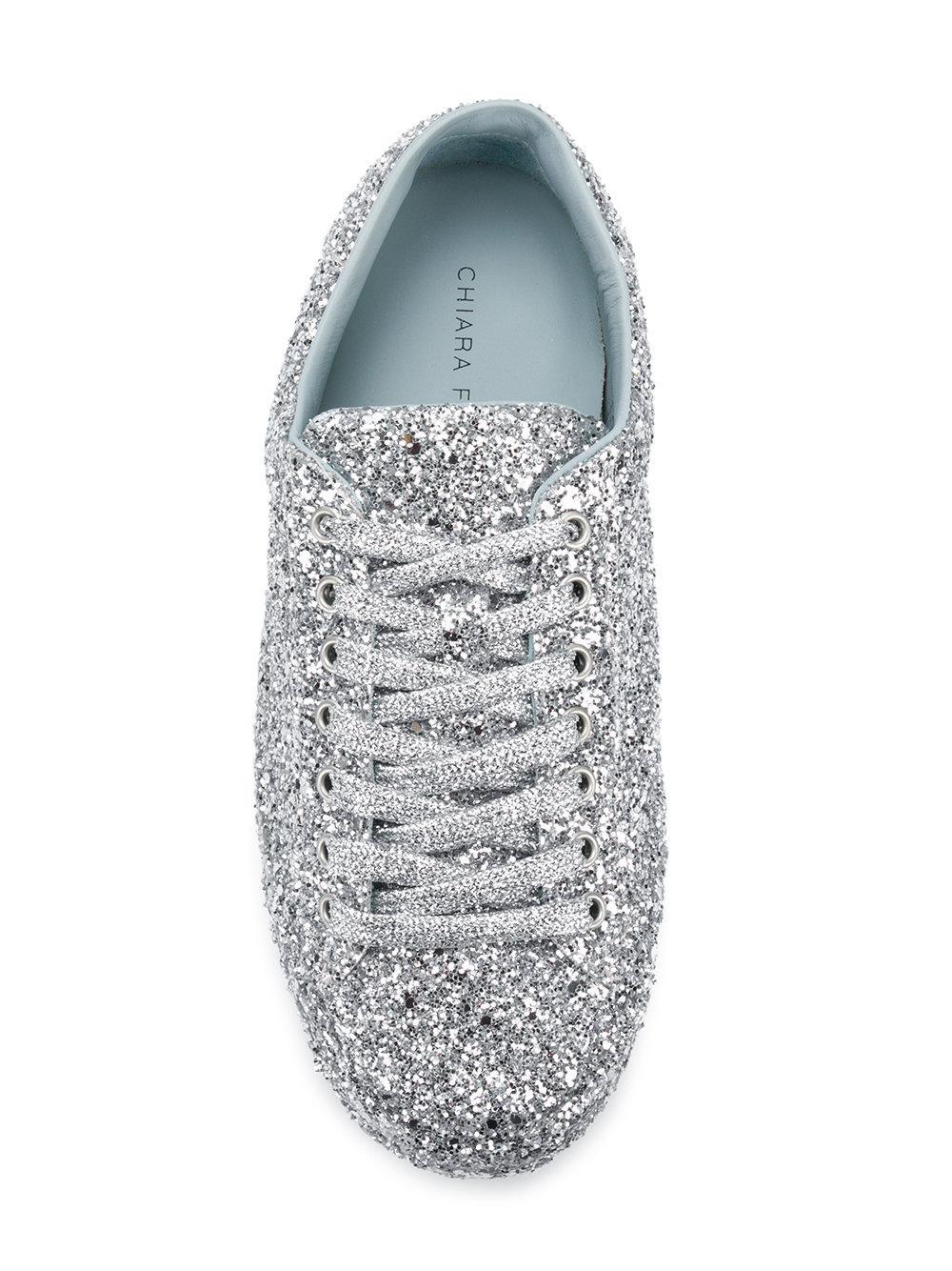 Chiara Ferragni Rubber Sequin Embroidered Sneakers in Metallic