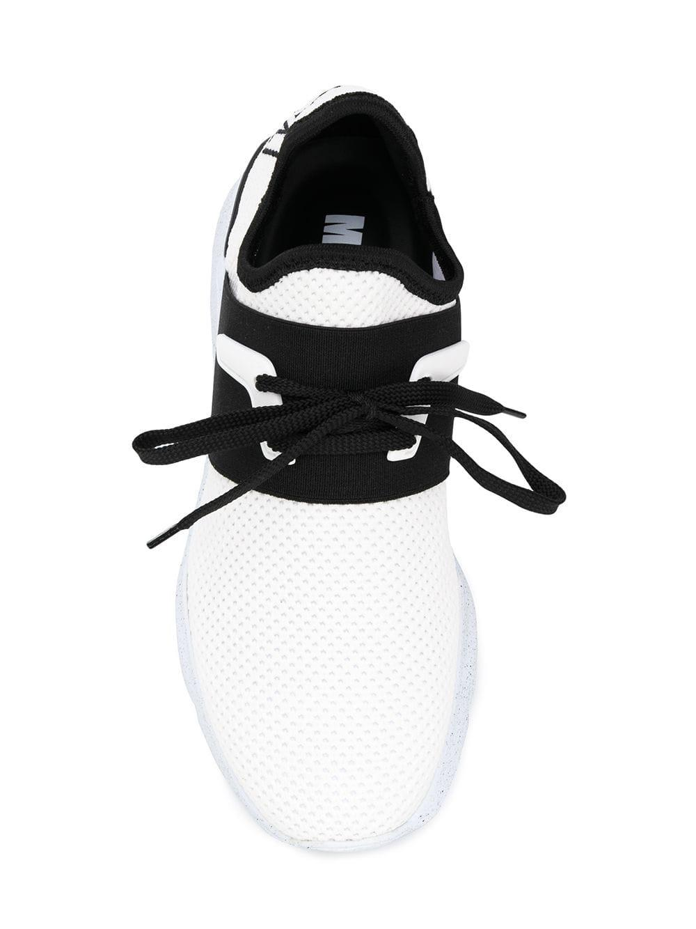 MSGM Leather Logo Embroidered Sneakers in White