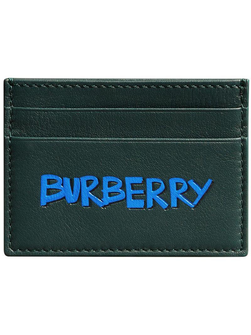 Graffiti Print Leather Card Case - Black Burberry FrpnL3iW