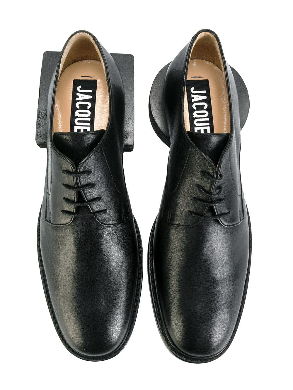 Jacquemus Leather Square Heel Lace-up Shoes in Black for Men