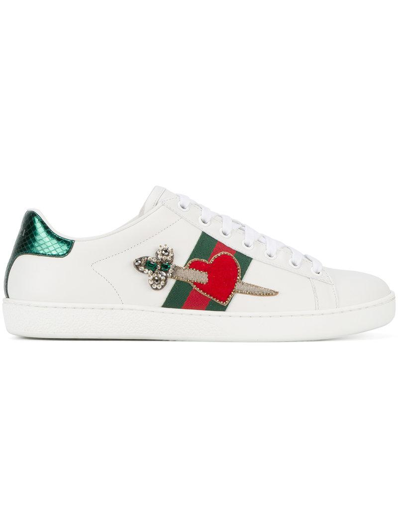 Gucci Leather Heart Dagger Ace Sneakers