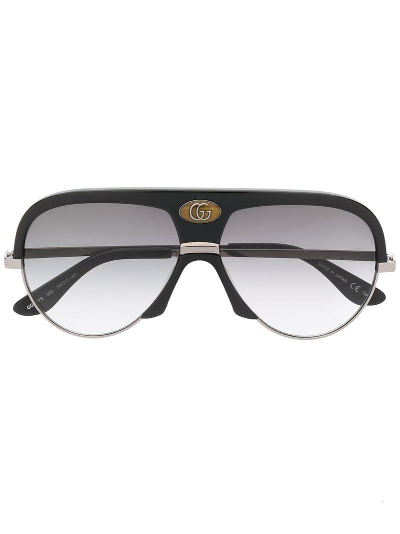 5a482464cce Lyst - Gucci Oversized Aviator Frame Sunglasses in Black