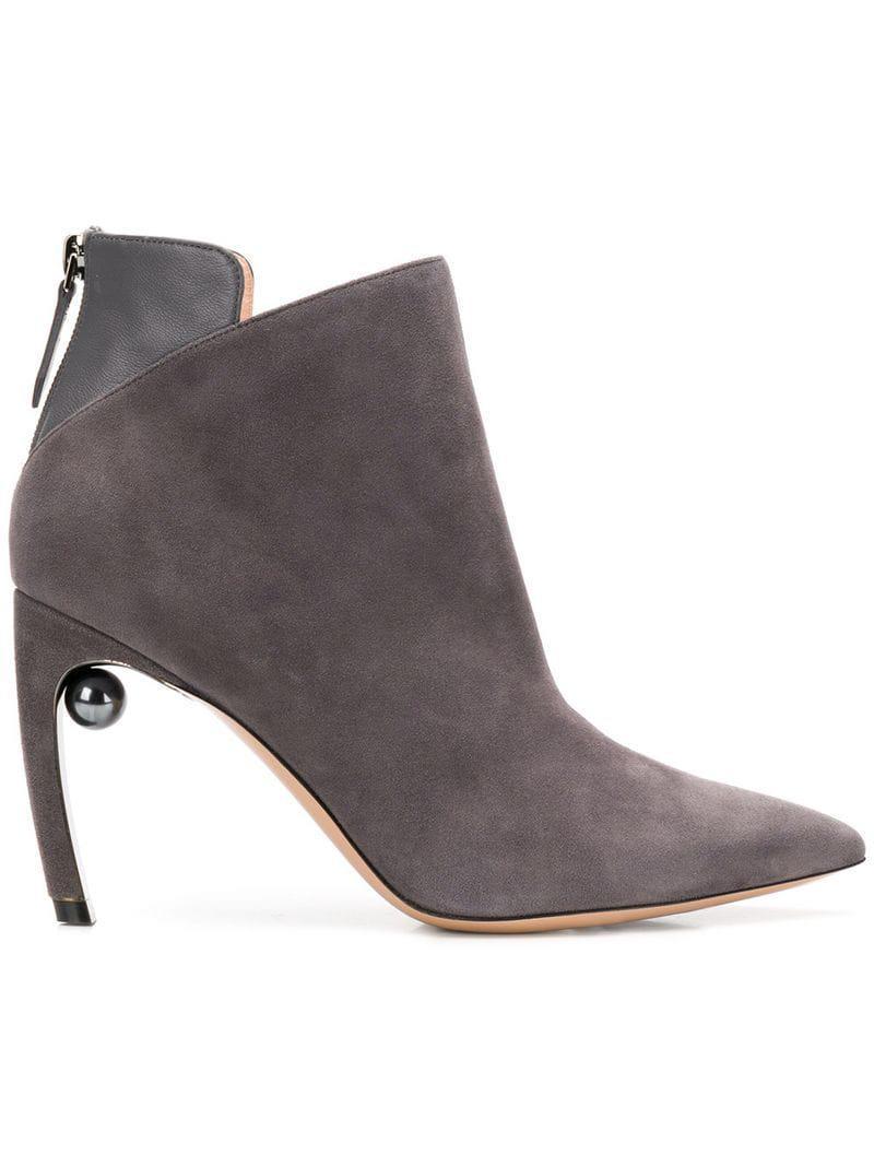21013df5b9c Lyst - Nicholas Kirkwood 90mm Mira Pearl Ankle Boots in Gray