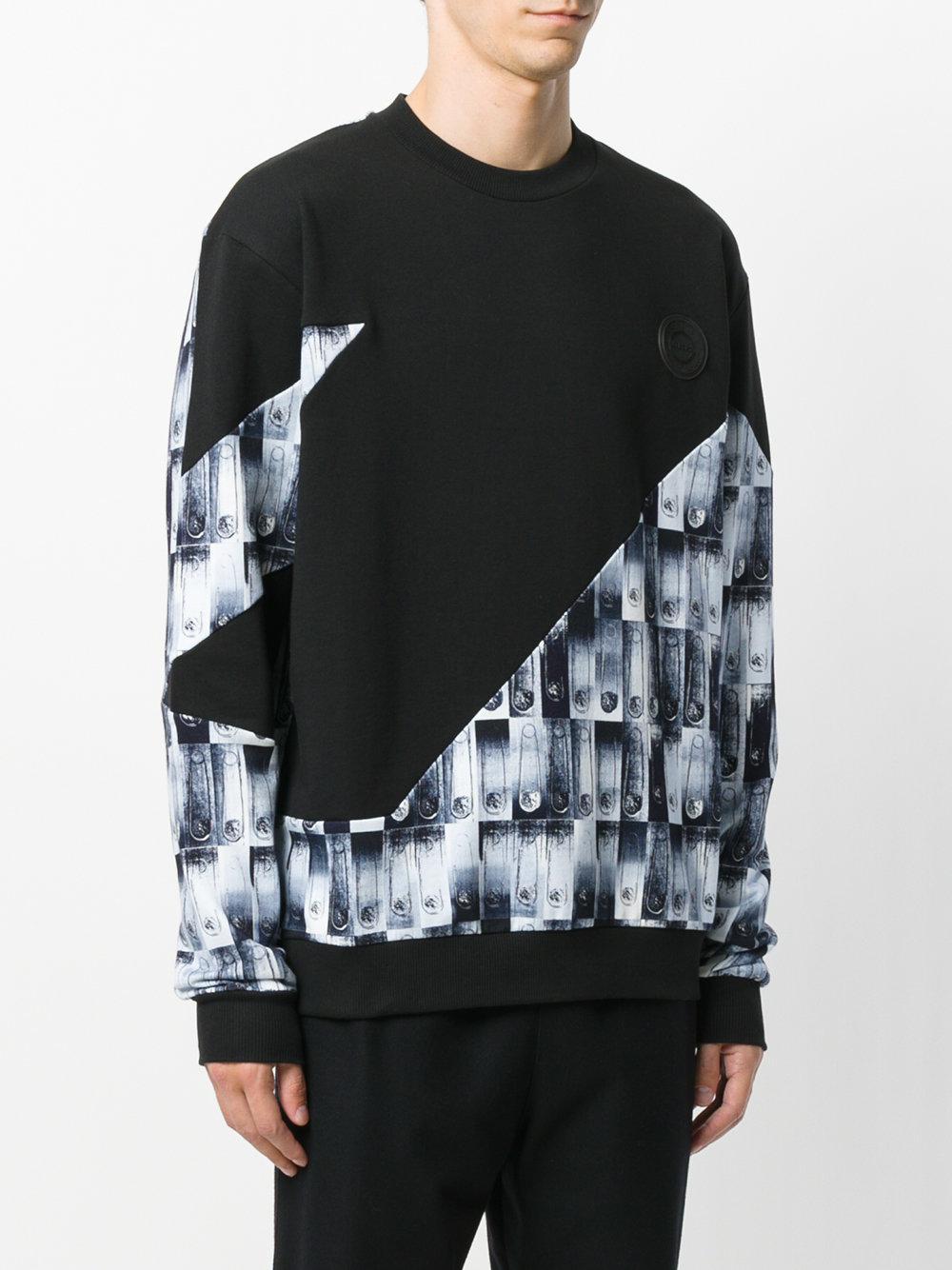 Versus Cotton Safety Pin Panels Sweatshirt, Black Jumper for Men