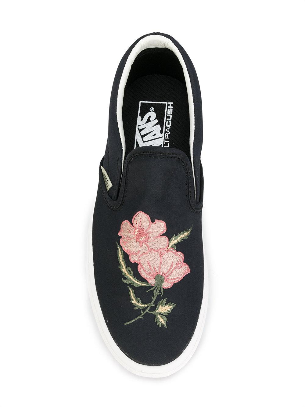 4b603be38b1e Lyst - Vans Embroidered Rose Sneakers in Black