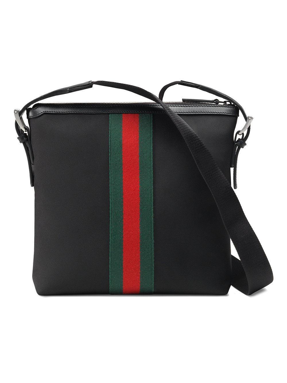 ddbd82ef4534 Gucci Web Techno Canvas Small Messenger Bag Black for Men - Lyst