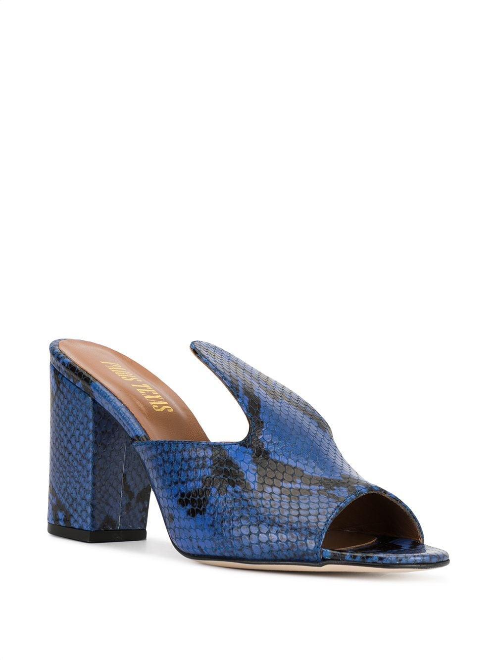 Mules con estampado de piel de serpiente Paris Texas de Cuero de color Azul