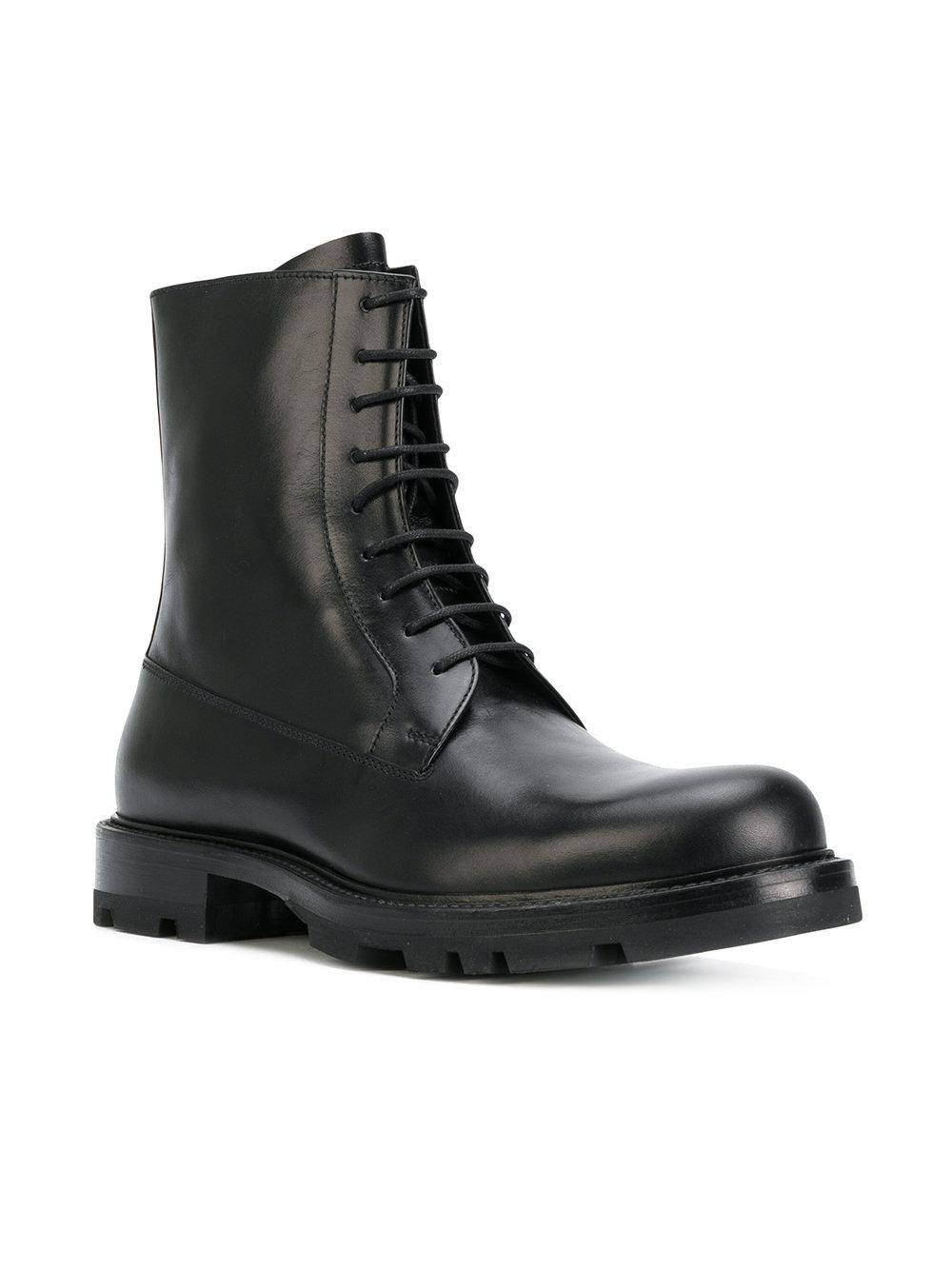 Jil Sander Leather Box Valf Ankle Boots in Black