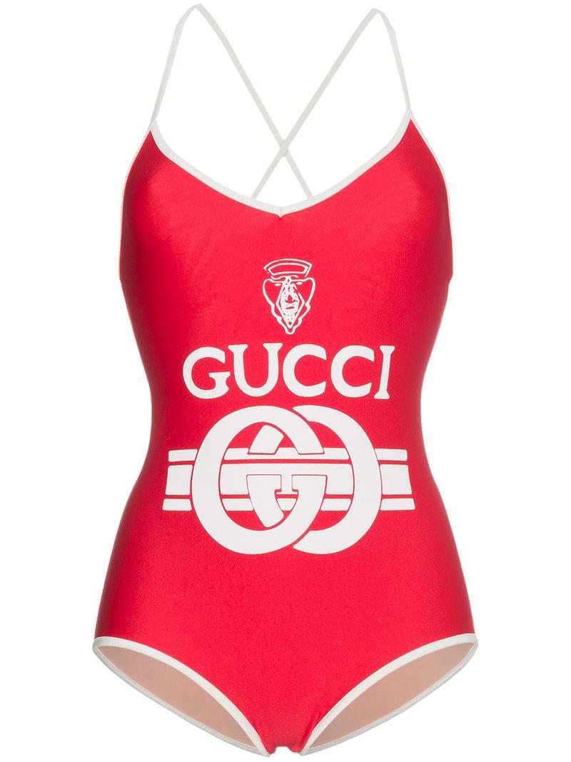 Lyst - Maillot de bain à logo Gucci en coloris Rouge f93dc823abe1