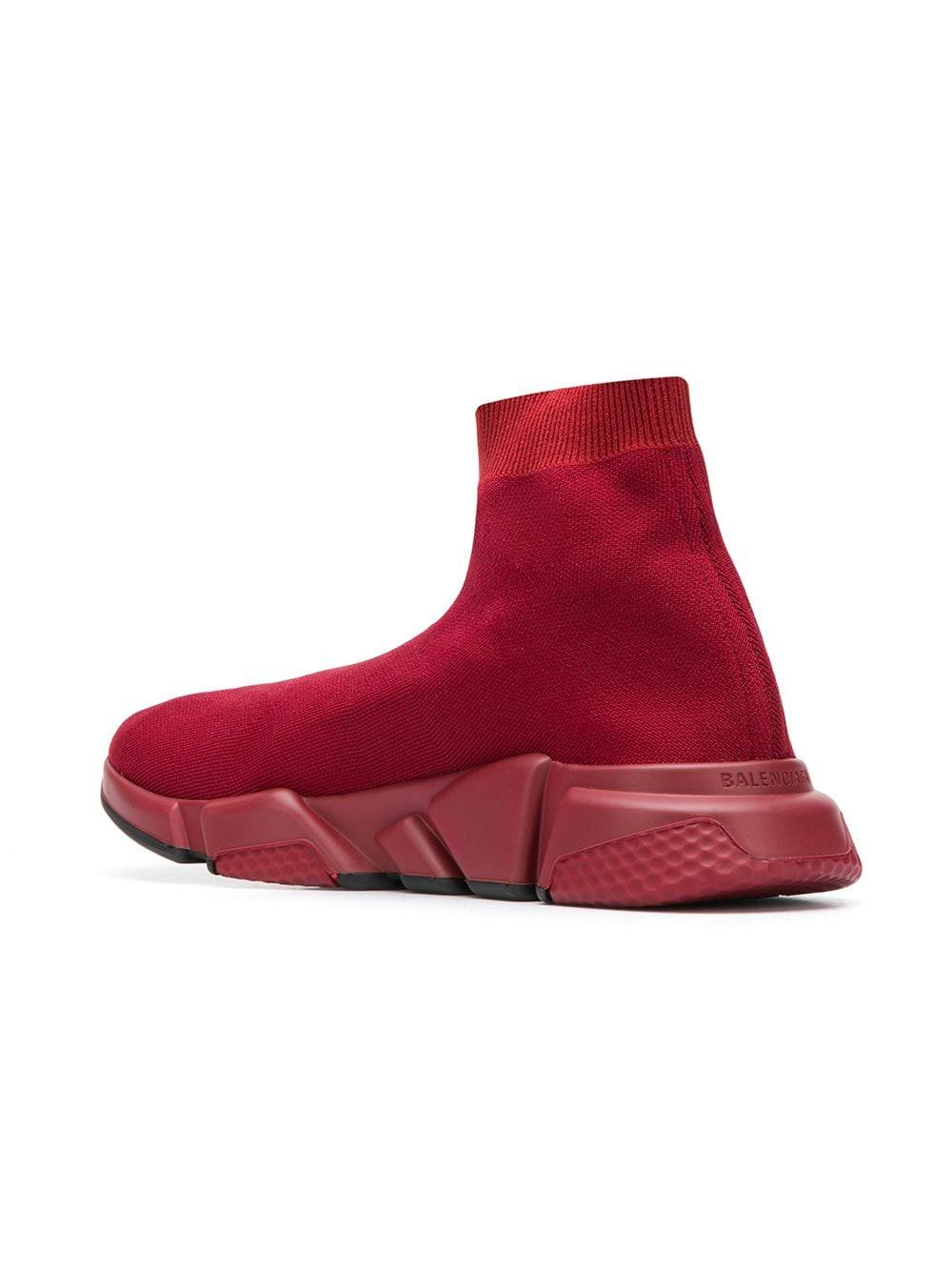 0a68a271e05c Balenciaga - Red Exclusive To Farfetch - Speed Sock Sneakers for Men -  Lyst. View fullscreen