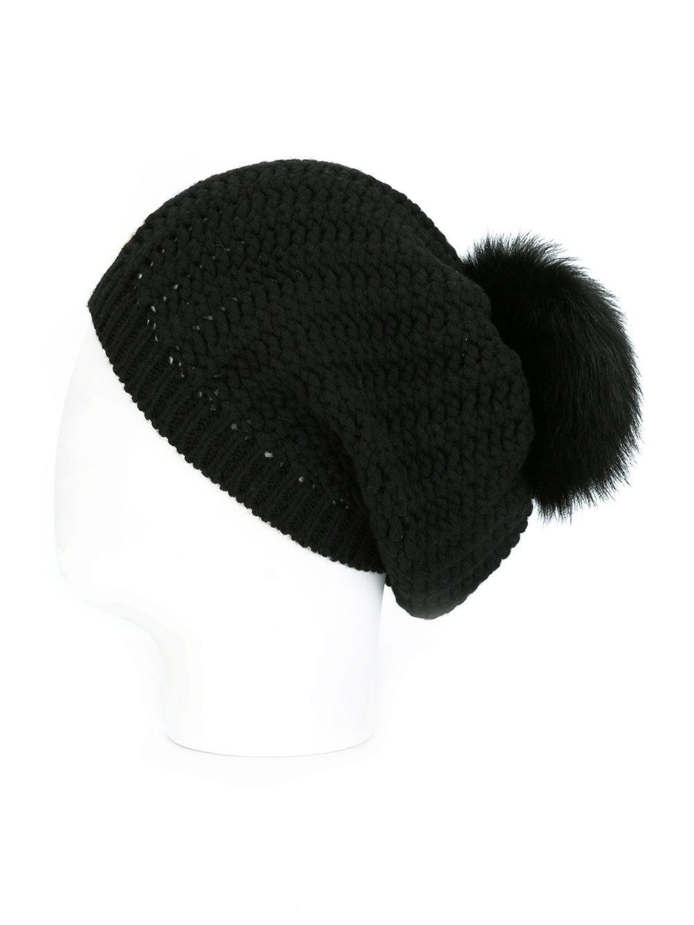 Moncler Genuine Fox Fur Pom Ribbed Wool Beanie In Black Lyst