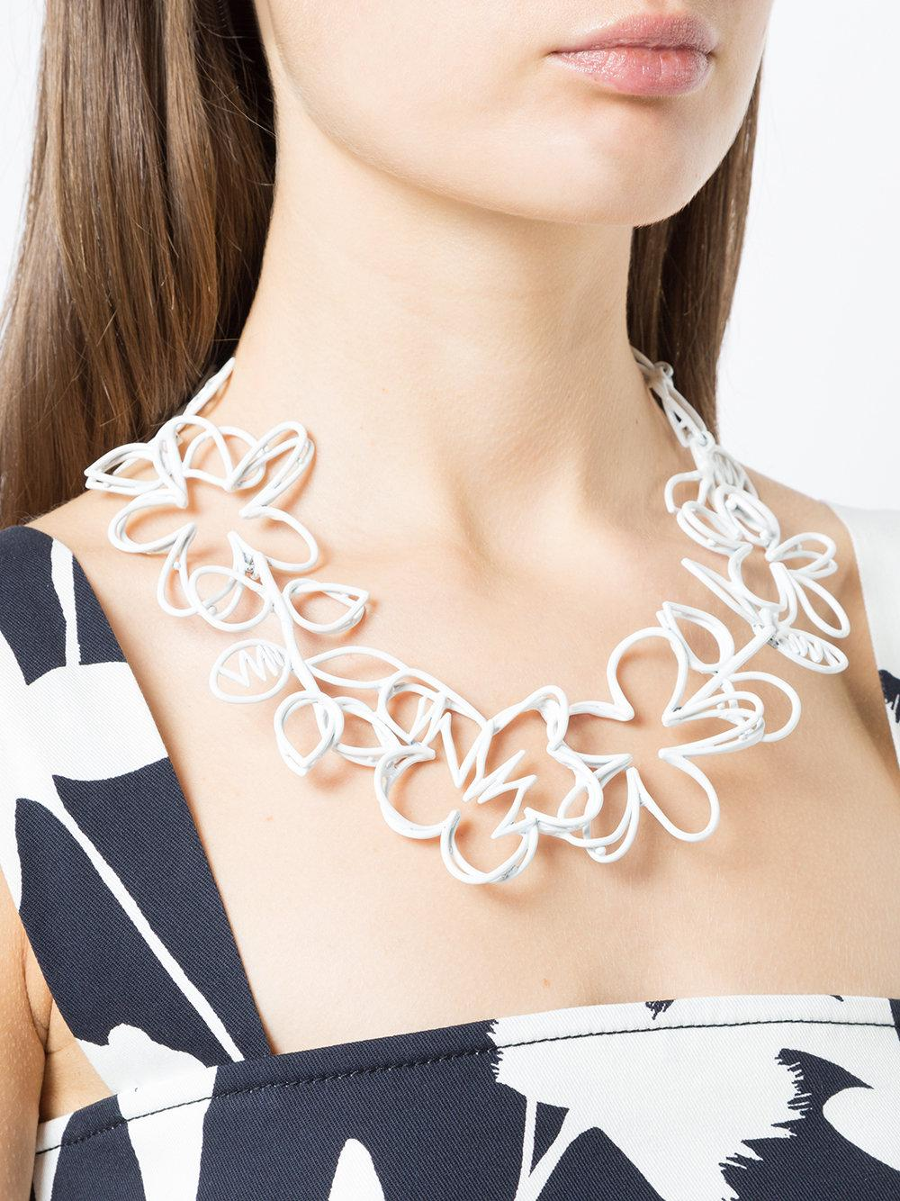 Oscar de la Renta Botanical Scribble Necklace in White