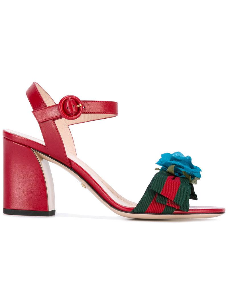 02dcb475136 Lyst - Gucci Floral-embellished Sandals in Red
