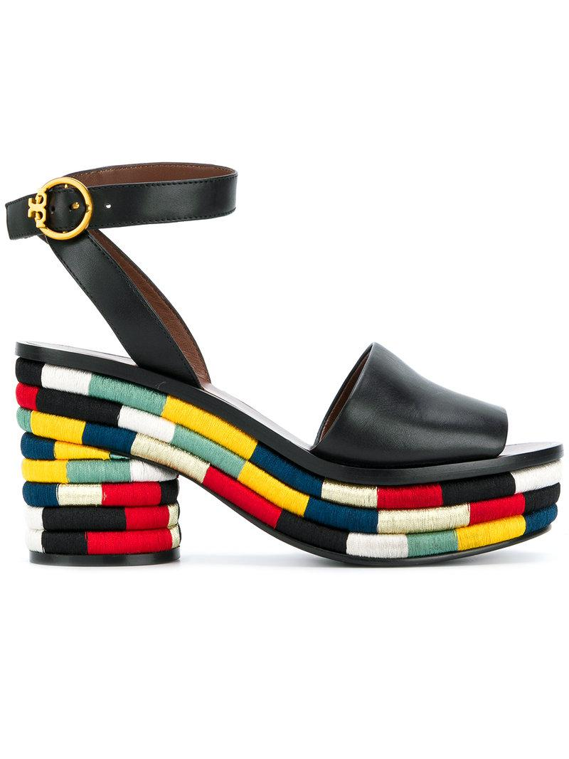 537d55a86601 Lyst - Tory Burch Camilla Embroidered Sandals in Black