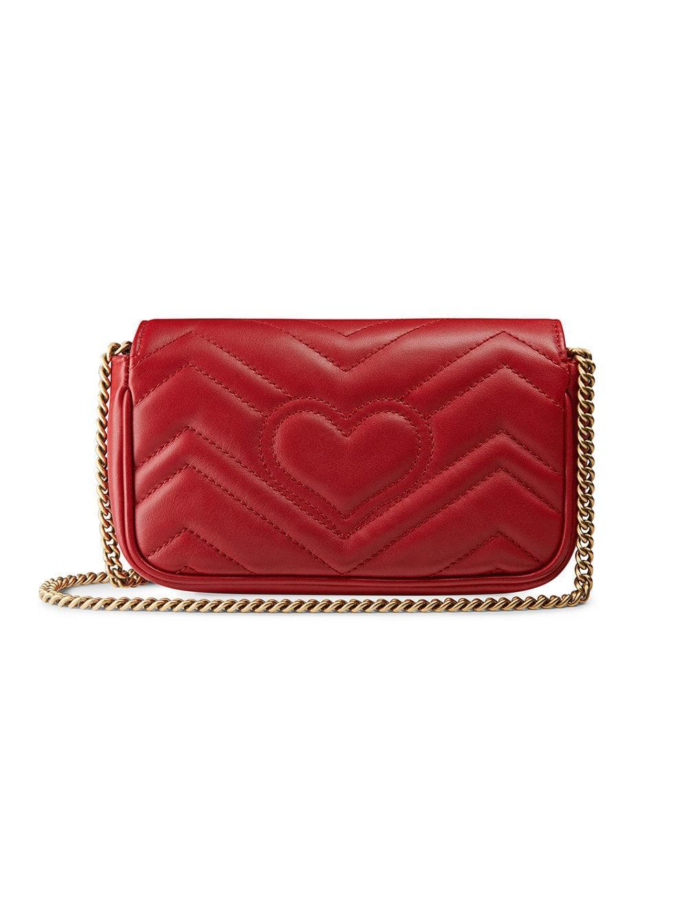 Gucci - Red Mini Borsa Gg Marmont In Pelle Matelassé - Lyst. View fullscreen fcbe7ef7453