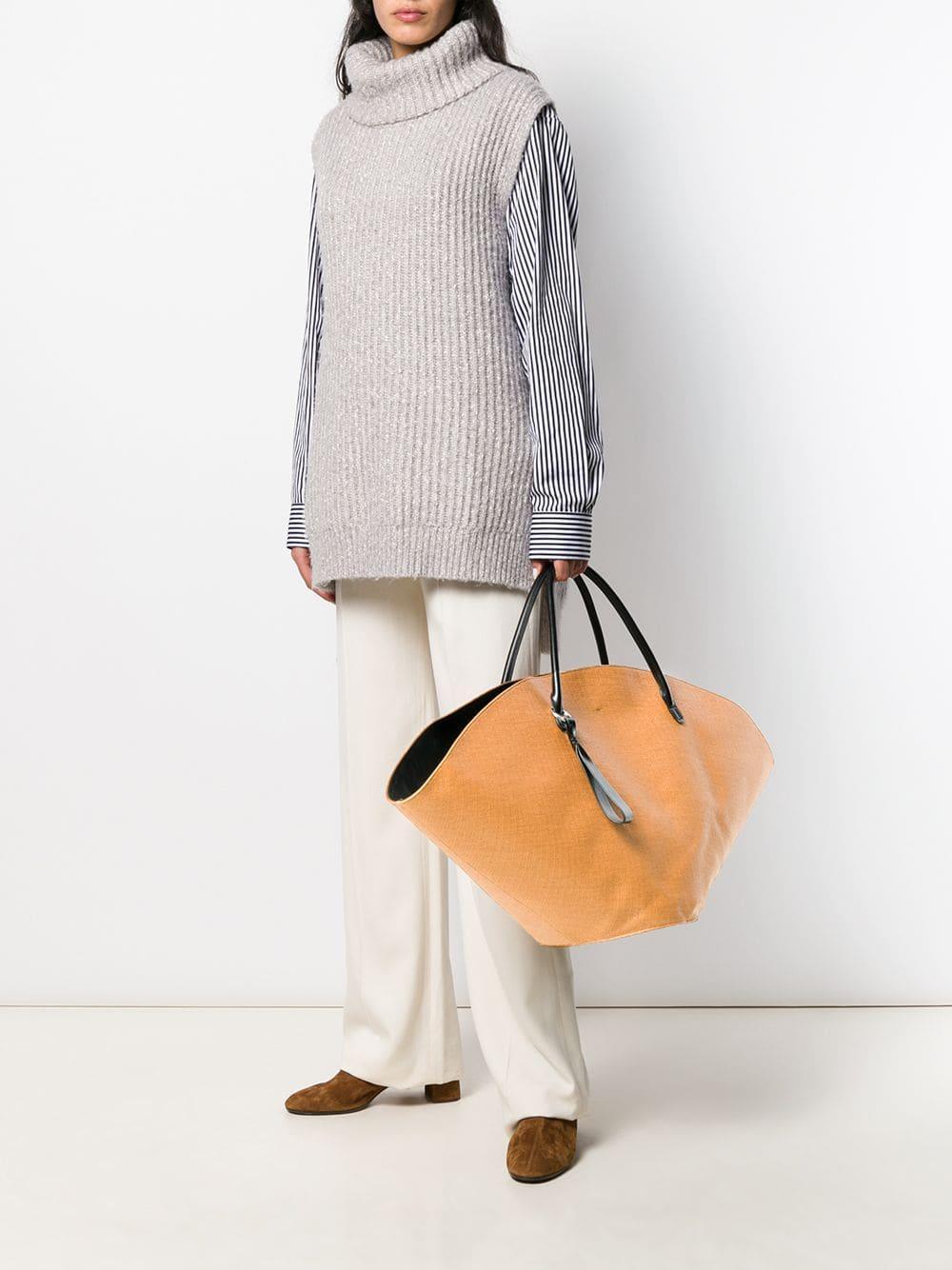 Jil Sander Leder 'Sombrero' Handtasche in Braun Pvh4J