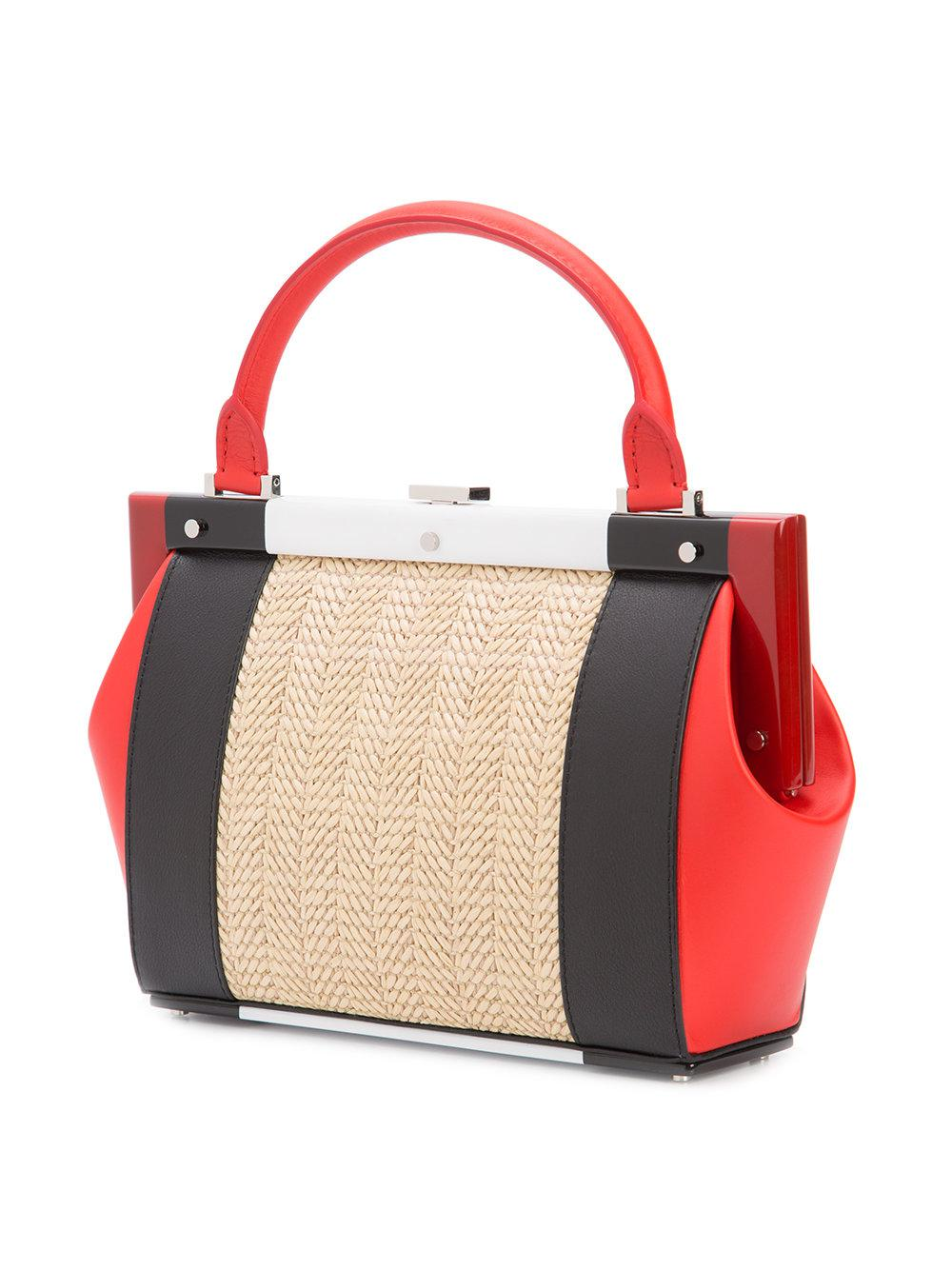 PERRIN Paris Leather Colour-block Tote in Red