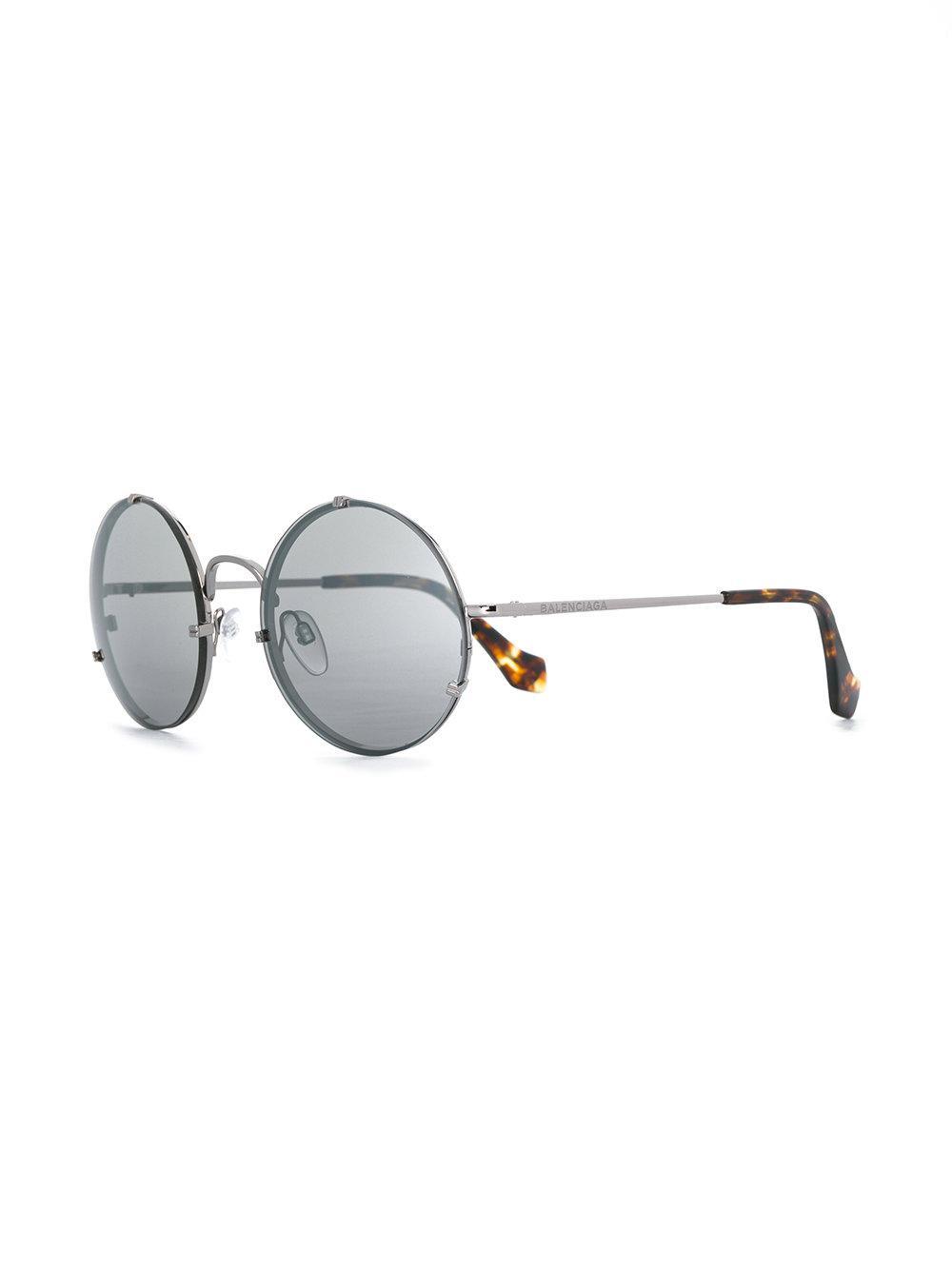 Balenciaga Rounded Sunglasses in Metallic