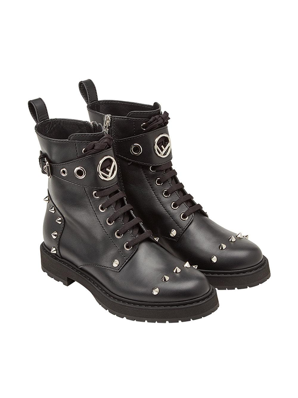 lace-up studded boots - Black Fendi