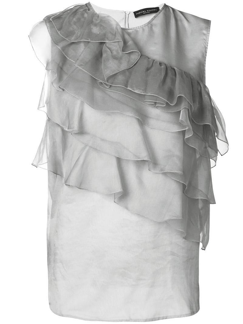 cbe4ac456b3ba Fabiana Filippi Ruffle Detail Silk Blouse in Gray - Lyst