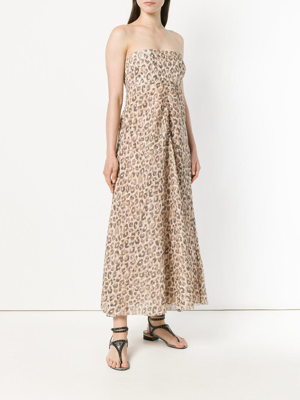 Zimmermann Linen Leopard Print Sleeveless Dress in Brown