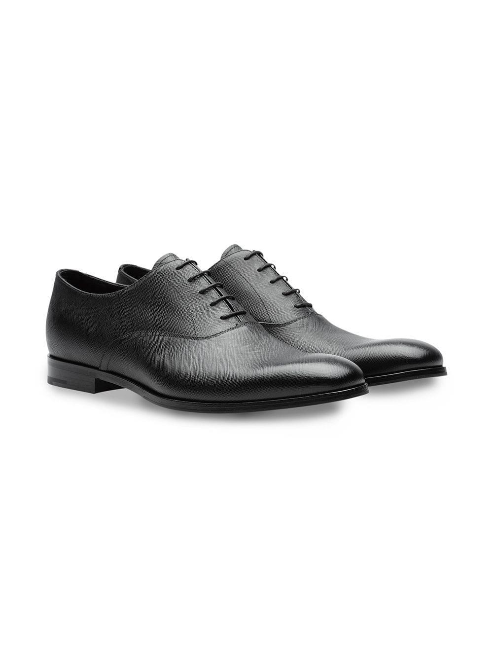 Prada Leer Oxford Schoenen Van Saffiano Leer in het Zwart voor heren
