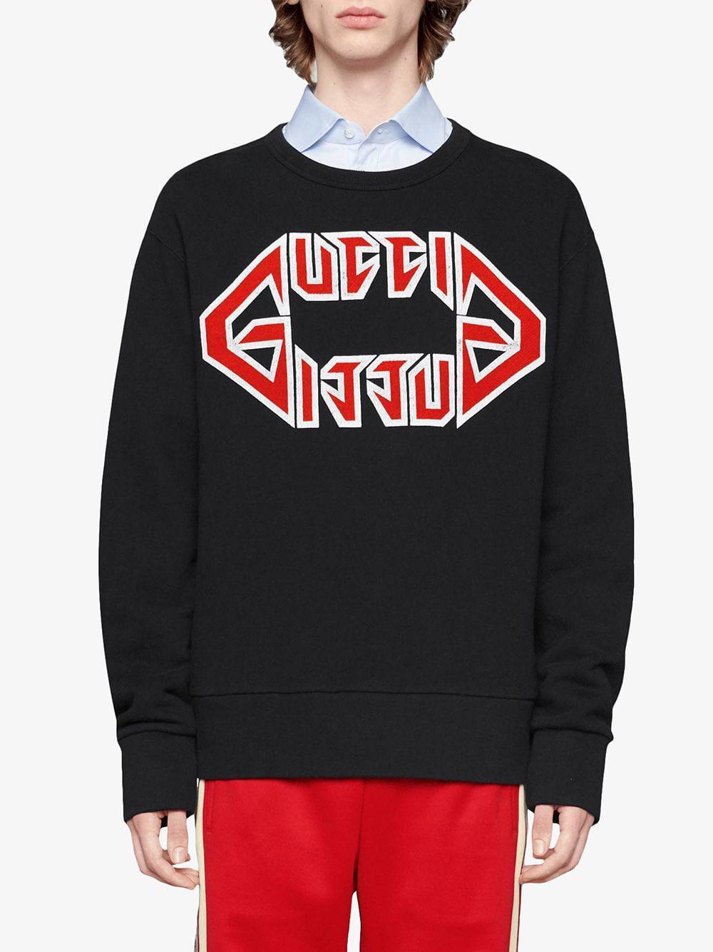 ba142515f3 Men's Black Cotton Sweatshirt With Metal Print