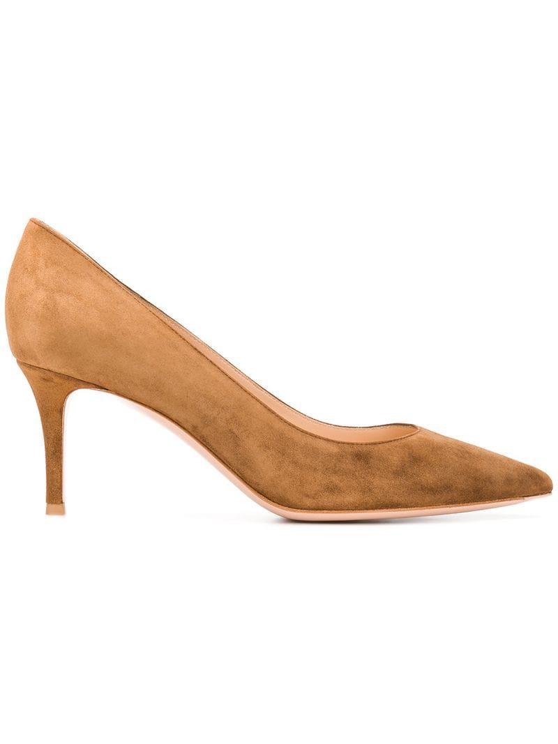 a66aab42bddc Lyst - Gianvito Rossi Pointed Pumps in Brown