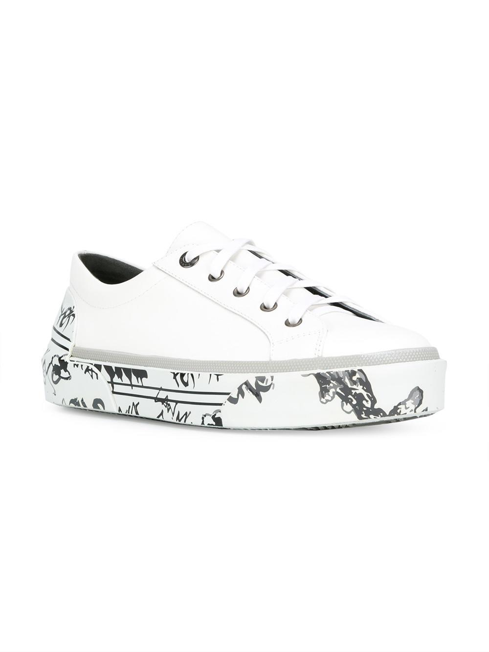 Lanvin Leather Printed Sole Sneakers in White