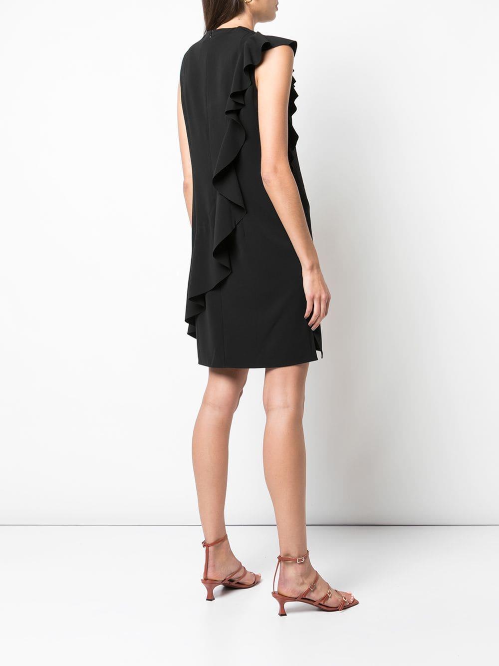 Robe courte à détail volanté Synthétique Akris Punto en coloris Noir